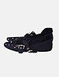 Bailarina negra detalle metálico con tiras velvet Zara