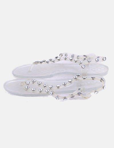 Sandalia transparente con strass