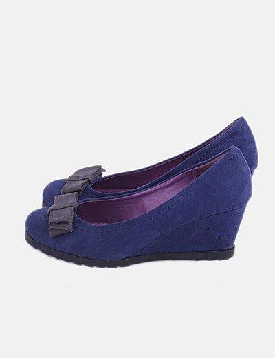 Zapato cuña azul marina