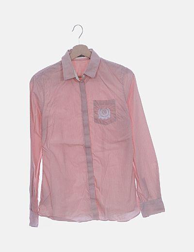 Camisa blanca raya rosa