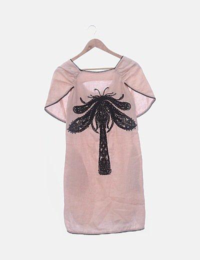 Vestido de lino rosa bordado negro