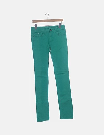 Jeans denim verde pitillo