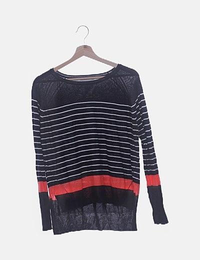 Suéter tricot navy tail hem