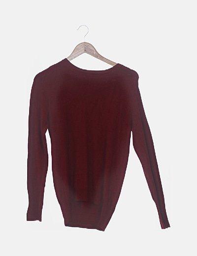 Suéter tricot granate con botones