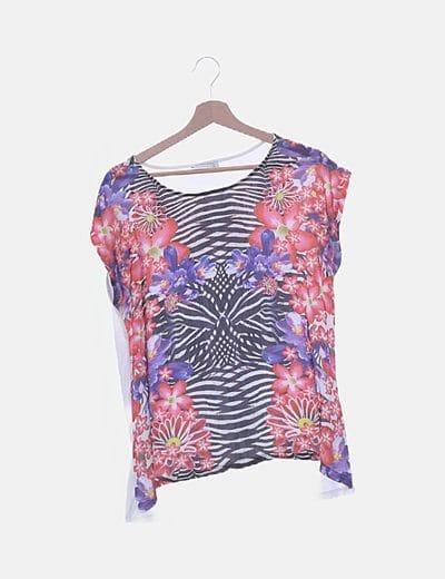 Camiseta combinada print satinado