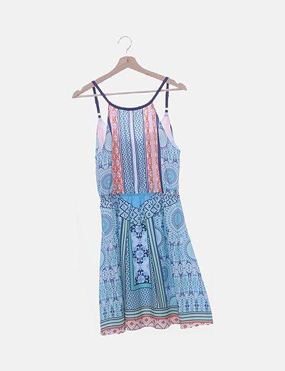 Vestido de tirantes print multicolor