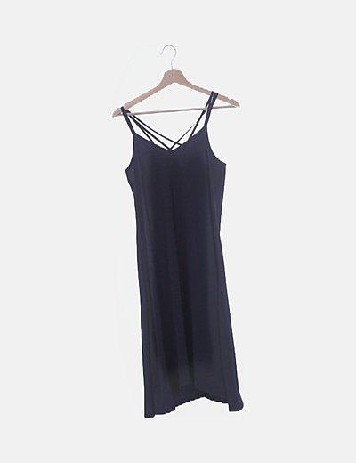 Vestido de gasa azul marino