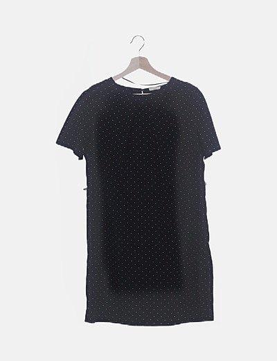 Vestido midi negro motas