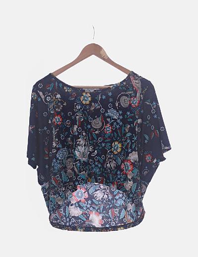 Camiseta azul marino print floral