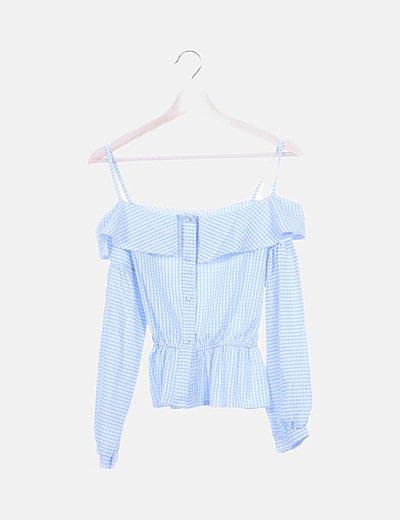 Camisa peplum cuadro vichy azul