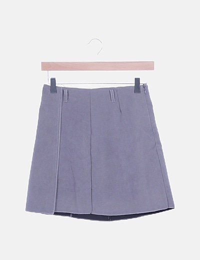 Mini falda tableada gris