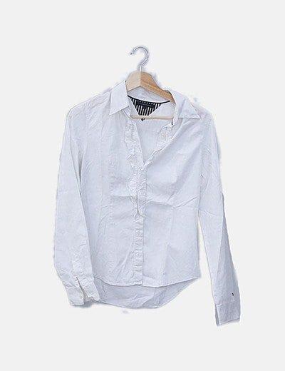 Camisa blanca escote plisado