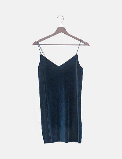 Vestido tirantes velvet azul