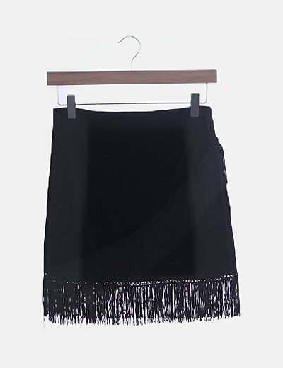 Falda terciopelo negro con flecos