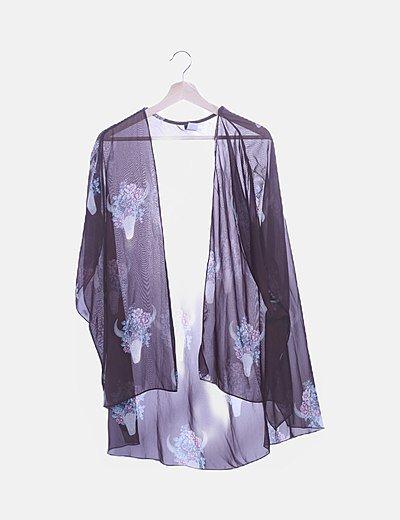 Kimono de gasa marrón print floral