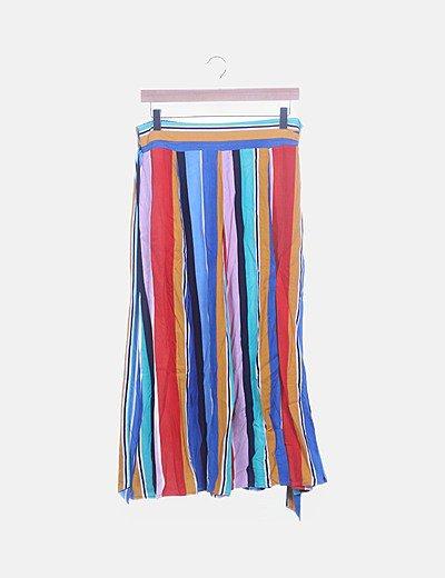 Falda larga rayas multicolor