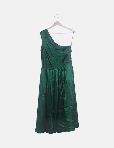 Vestido verde saten tirante asimétrico