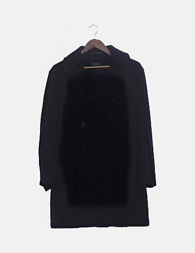 Abrigo largo azul marino de botones