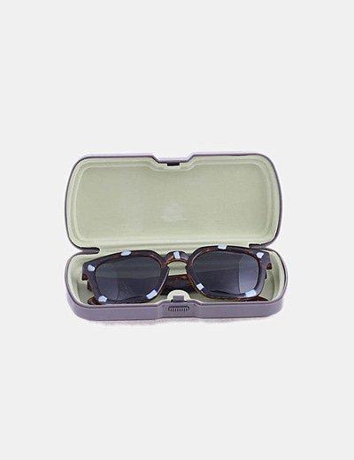 Gafas de sol cuadradas marrones detalle azul