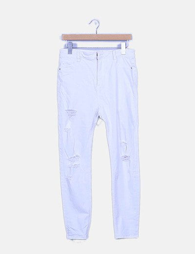 Jeans ripped blanco pitillo