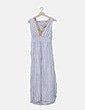 Vestido maxi gris encaje bordado etnico Made in Italy