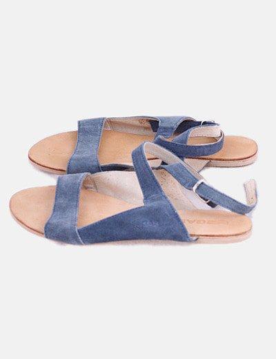 Sandalia piel azul