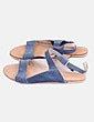 Sandalia piel azul GAS