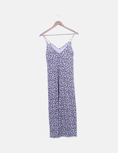 Vestido largo tricot animal print
