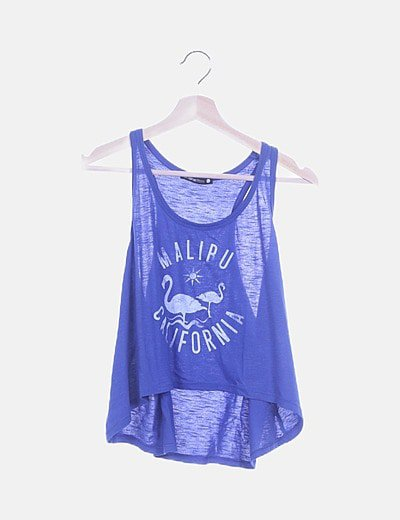 Top azul letter print