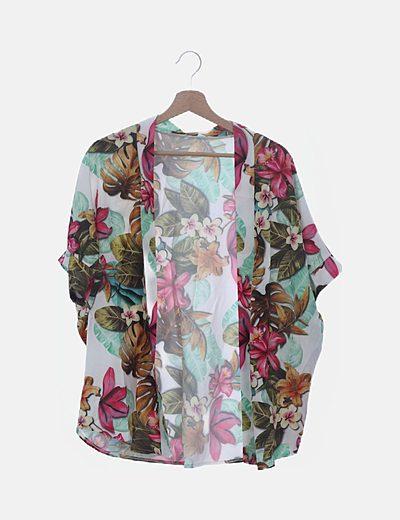 Kimono fluido estampado floral