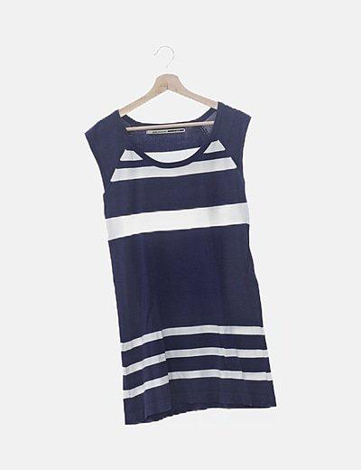 Vestido tricot azul raya