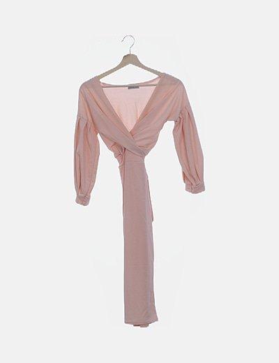Vestido ceñido rosa palo con lazo