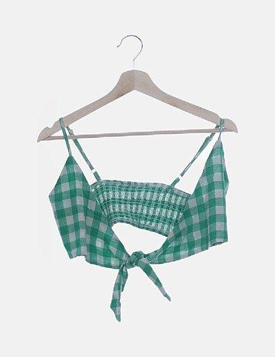 Conjunto crop top y falda cuadros verdes