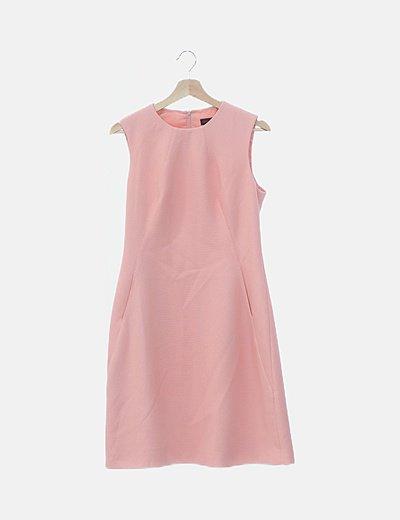 Vestido midi rosa texturizado