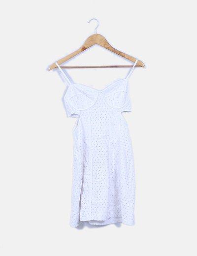 Vestido troquelado blanco con aberturas