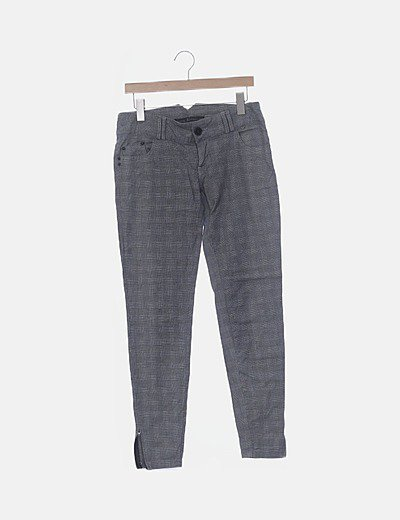Pantalón chino gris cuadro vichy