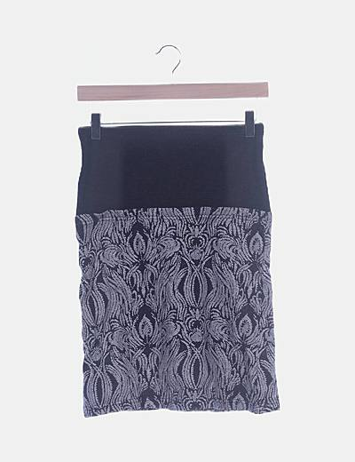 Falda gris tricot combinada