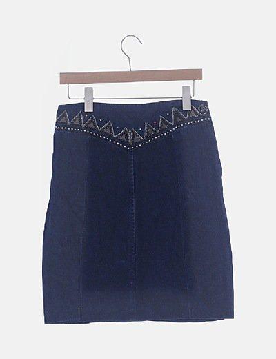 Falda denim azul marino con strass