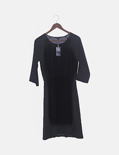 Vestido gasa manga larga negro