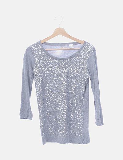 Camiseta gris paillettes