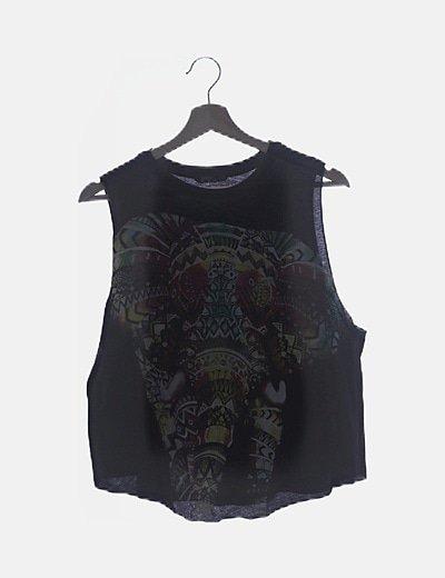 Camiseta negra print elefante