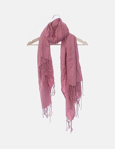 Foulard rosa con flecos