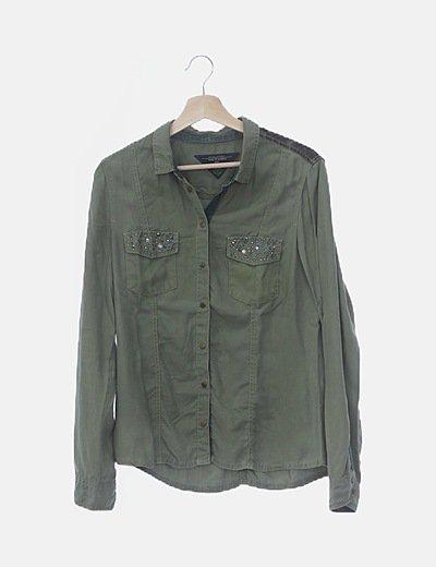 Camisa verde con strass