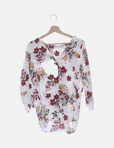 Blusa blanca print floral