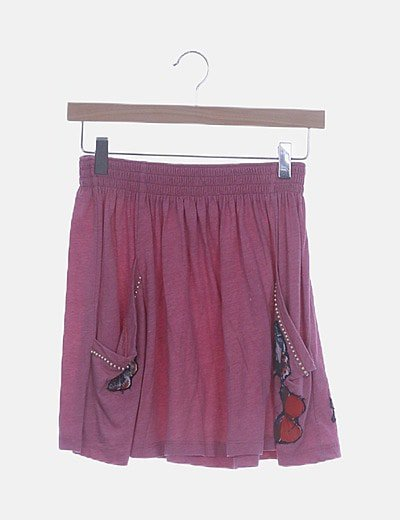 Mini falda rosa texturizada