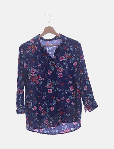 Camisa azul marino print floral