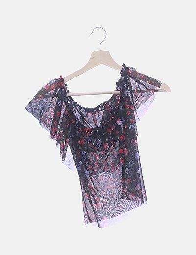 Camiseta negra gasa floral