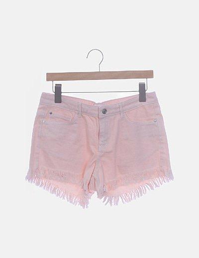 Short denim rosa palo desflecado