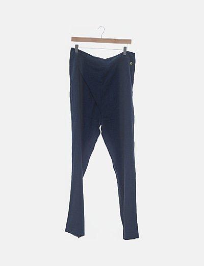 Pantalón fluido azul marino con bolsillos