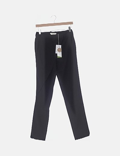 Pantalón fluido negro detalle cruzado